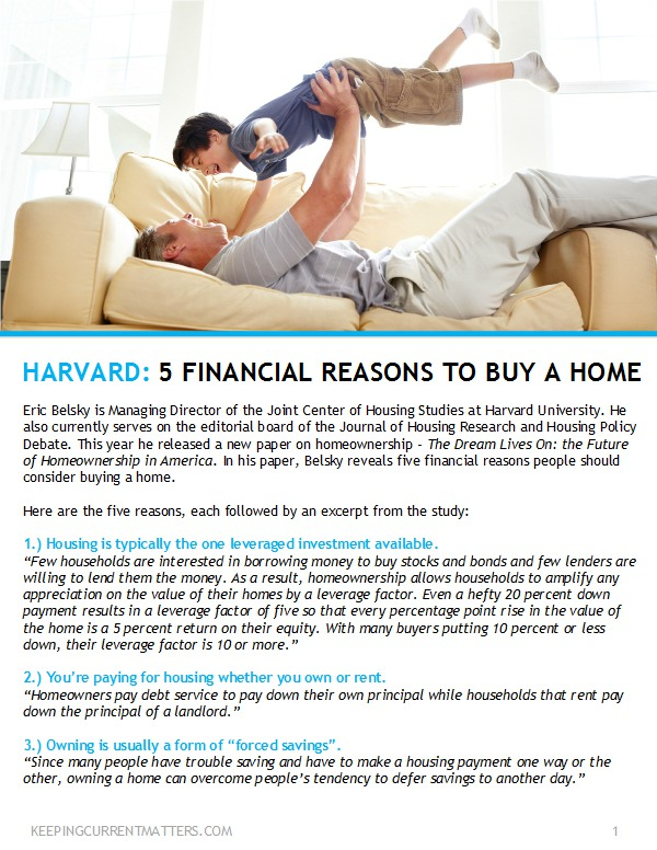 5 Financial reason to buy a home - Josh Barker Real Estate Advisors